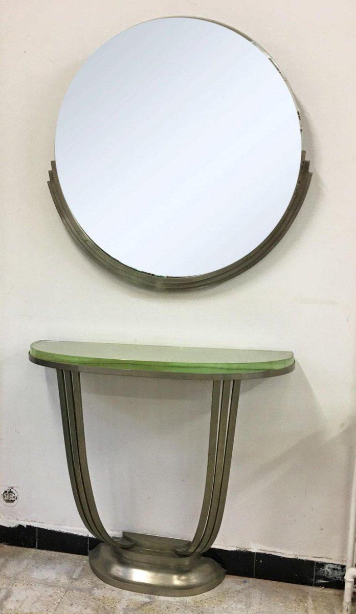 Console Et Son Miroir Art Deco En Bronze Nickelé Circa 1930-photo-4