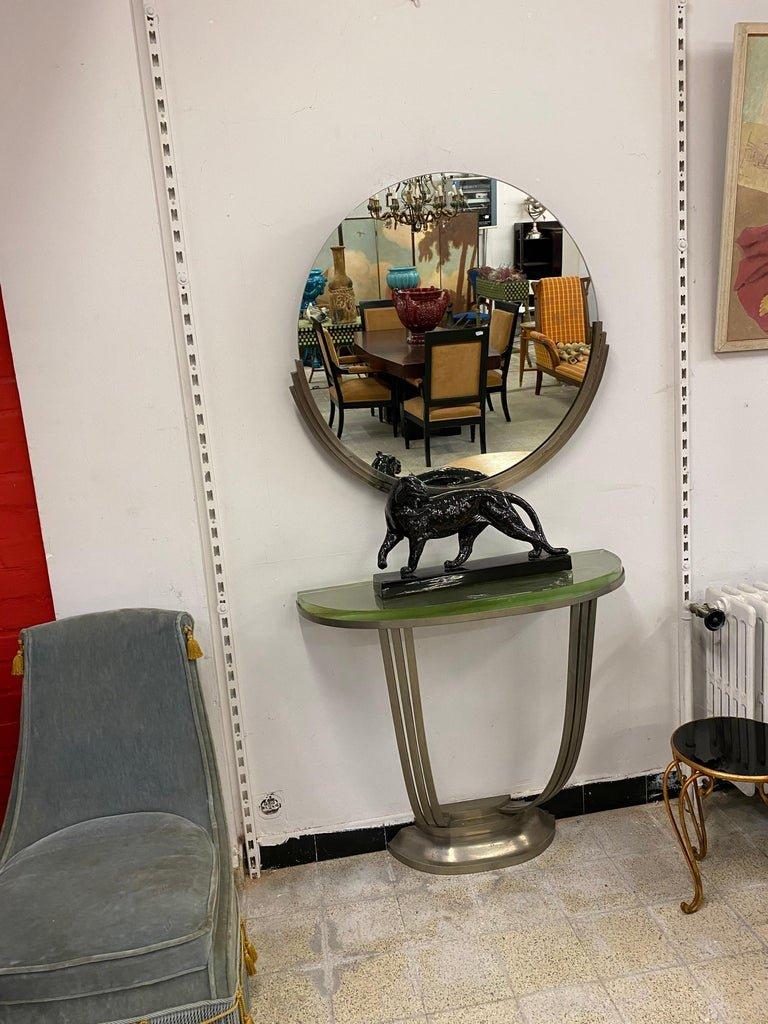 Console Et Son Miroir Art Deco En Bronze Nickelé Circa 1930-photo-8