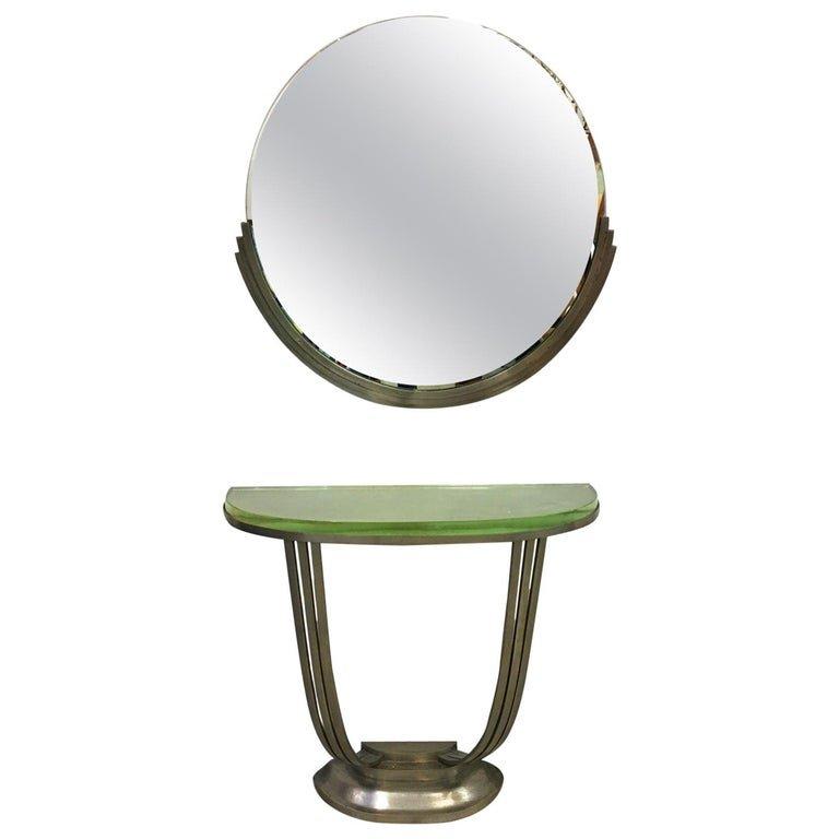 Console Et Son Miroir Art Deco En Bronze Nickelé Circa 1930