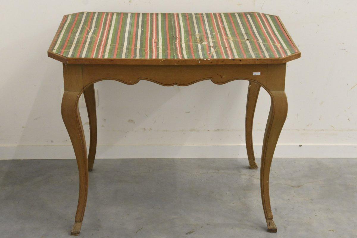 Table De Style Louis XV Dessus Tissu (ht.70 X 85 X 62cm)