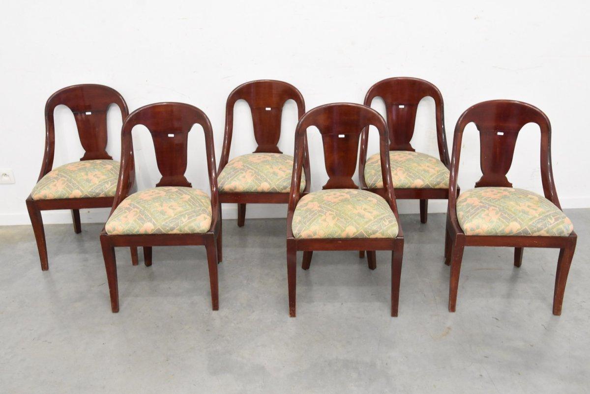 Suite De 6 Chaises Gondoles En Acajou De Style Louis Philippe, Circa 1930/1950