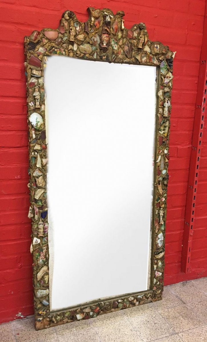 Folk Art, Old Large Mirror Whose Frame Is Covered With A Ceramic Mosaic-photo-2