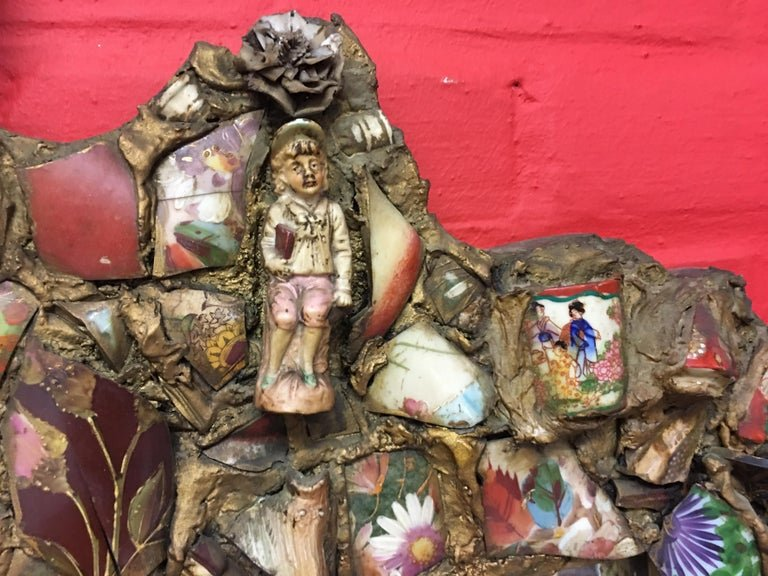 Folk Art, Old Large Mirror Whose Frame Is Covered With A Ceramic Mosaic-photo-1