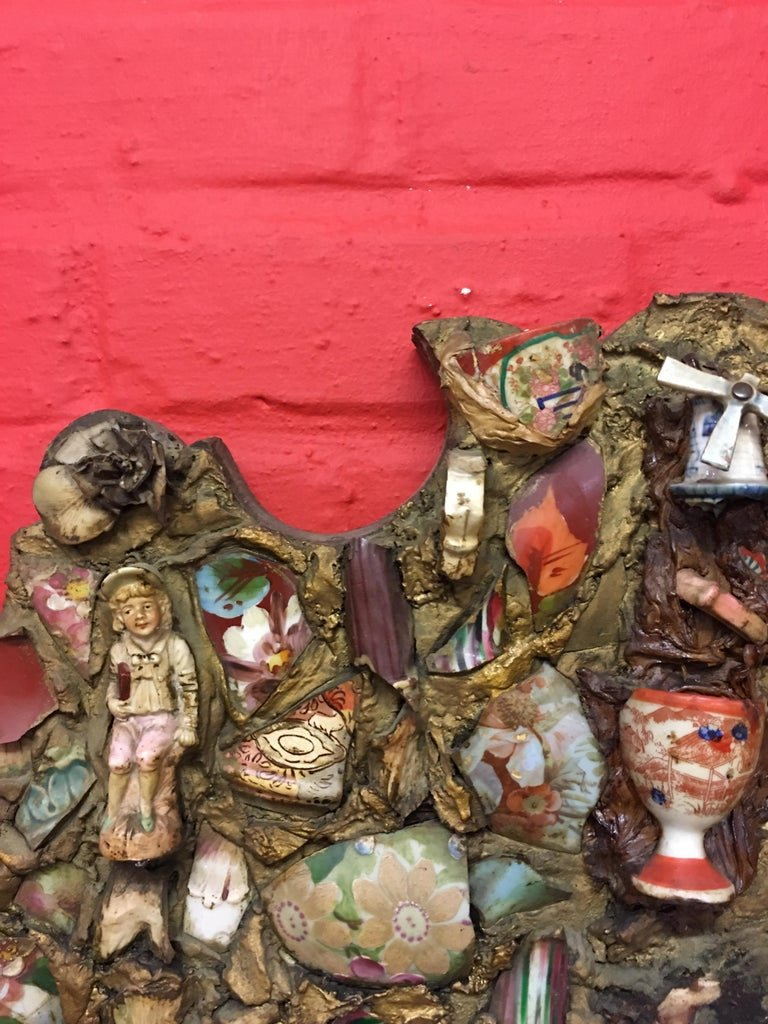 Folk Art, Old Large Mirror Whose Frame Is Covered With A Ceramic Mosaic-photo-4
