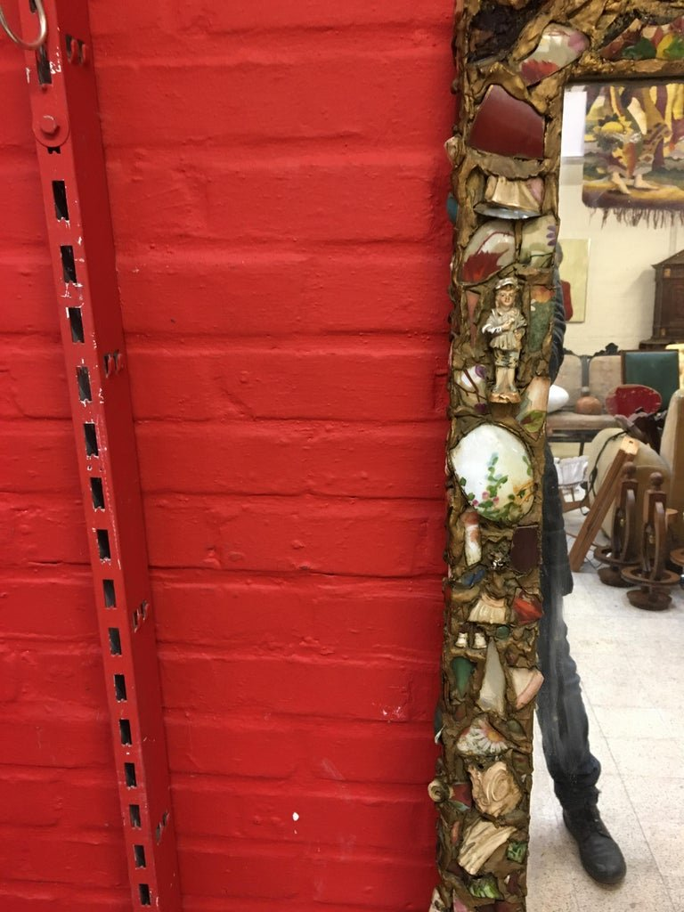 Folk Art, Old Large Mirror Whose Frame Is Covered With A Ceramic Mosaic-photo-7