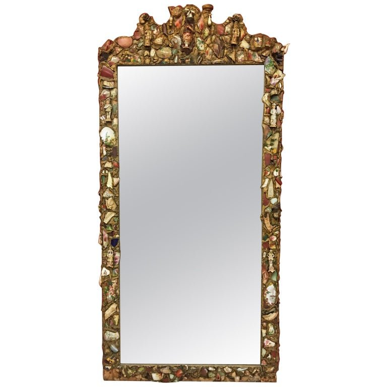 Folk Art, Old Large Mirror Whose Frame Is Covered With A Ceramic Mosaic