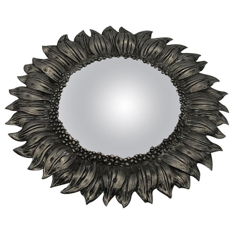 Witch Mirror In Silver Pewter Circa 1960
