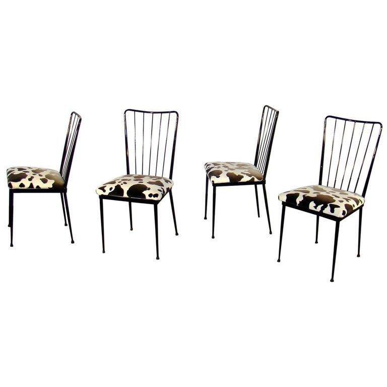 4 Chaises Circa 1960 Dans Le Style De Colette Gueden