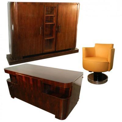 Decoene Freres, Cabinet Travail d' Epoque Art Deco En Placage d' Ebene De Macassar