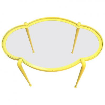Charming Pedestal In Yellow Lacquered Metal Circa 1950