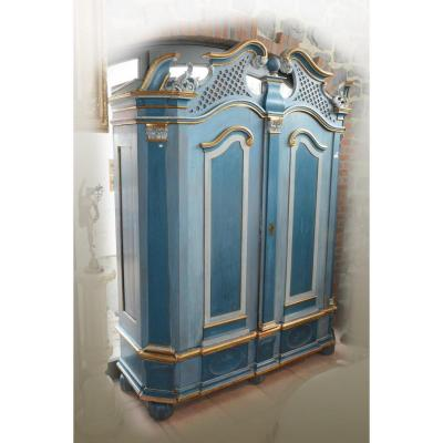Cabinet Carved And Patinated Blue And Gold, Opening Two Doors, 18th German Work Or