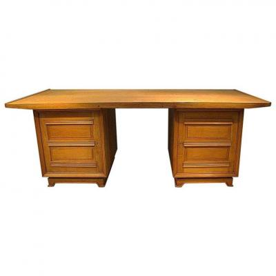 1940 French Work, Art-deco Desk In Oak And Oak Veneer