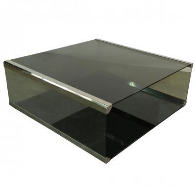Pierangelo Gallotti. Lounge Table In Chrome Metal And Green Smoke Glass, Circa 1970