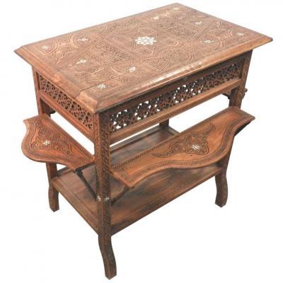 Ancienne Table A The Syrie XIX Entièrement Restaurée