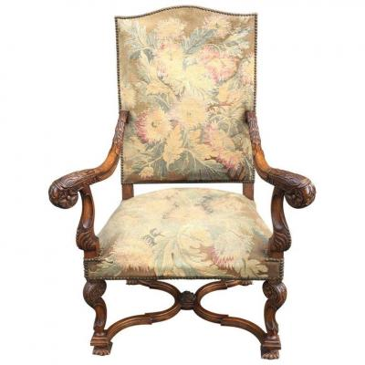 Large Armchair Style Louis XIII, Walnut Period 19th