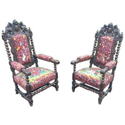 Pair Of Large Oak Louis XIII Armchairs,