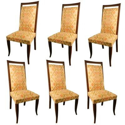 Suite Of 6 Art Deco Chairs With High Backs, Circa 1930