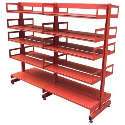 Large Modular Double Sided Shelf In Lacquered Iron Circa 1970/1980
