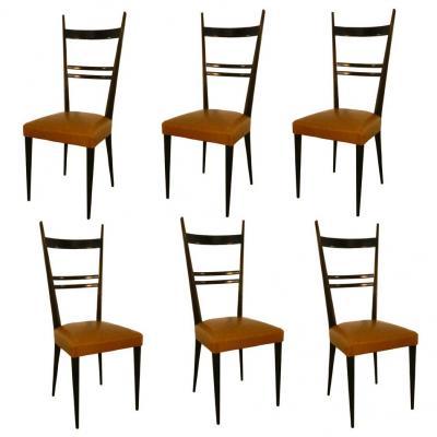 Travail Francais Suite De 6 Chaises A Hauts Dossiers Style Gio Ponti