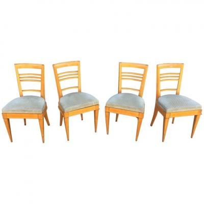 4 Elegant Art Deco Chairs, Circa 1940 (table Available)