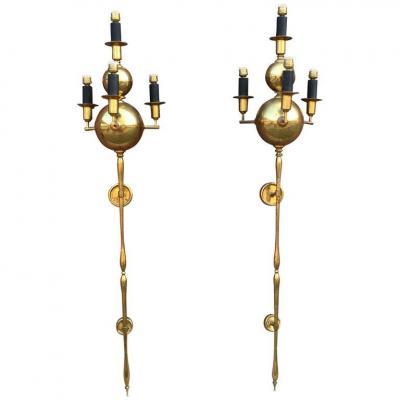 Pair Of Very Large Wall Lamps Circa 1960/70 Brass