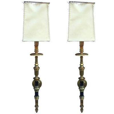 Pair Of Neo Classical Wall Lamps In Bronze And Brass Circa 1950