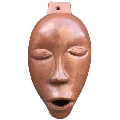 Antonio Lampecco, Terracotta Terracotta Mask, Circa 1960
