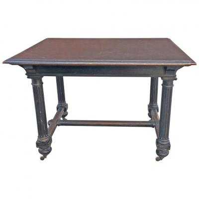 Elegant Blackened Walnut Table, Napoleon III Period