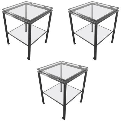 Guy Lefevre. Series Of 3 Side Tables In Brushed Steel And Tinted Glass. Jansen House.