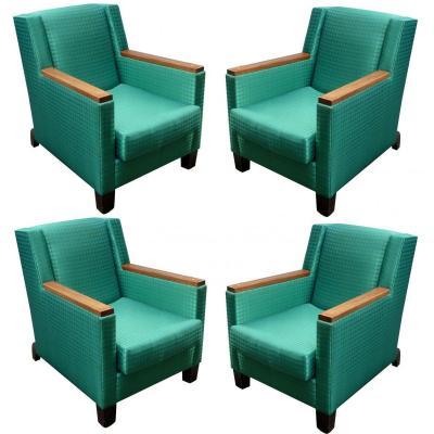 Dominique Suite De 4 Fauteuils  Art Deco Circa 1935