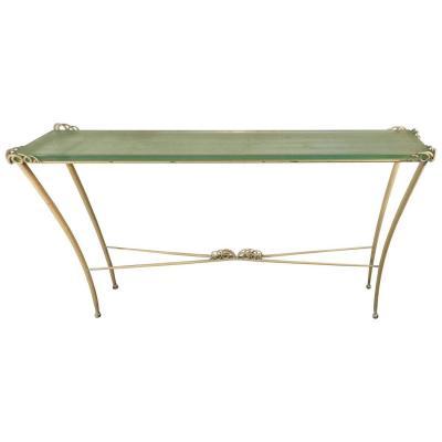 Table Console Art Deco En Métal Laqué Et Verre. 1940/1950.