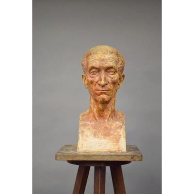 """Ernestine Sirine-real (1899-1994) """"buste"""". Platre Patiné, Signé Et Daté 44."""