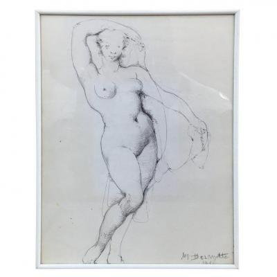 Marcel Delmotte (1901-1984) Drawing, Signed M. Delmotte And Dated 1981