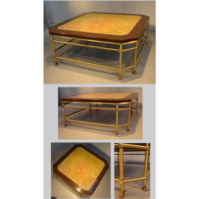 Rings (assigns A) Table Of Living Cantilever Brass & Bronze Dore, Lacquered Wooden Tray