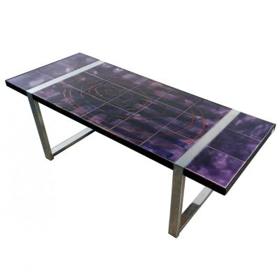 Juliette Belarti, Table In Chromed Metal And Ceramics Circa 1970, Signed