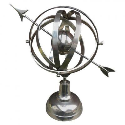 Sphere Armilaire En Métal Nickelé Circa 1970