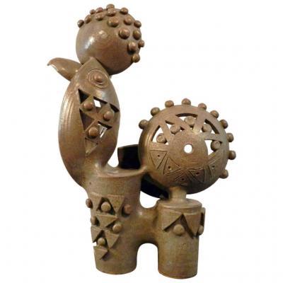 Boleslaw Danikowski Grande Sculpture En Céramique émaillée. France 1950.