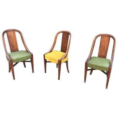 3 Originales Chaises Art Deco, Circa 1925, Decor Faux Bois
