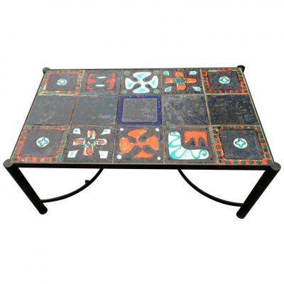 Lacquered And Ceramic Iron Salon Table Attributed To Jacques Adnet Circa 1950