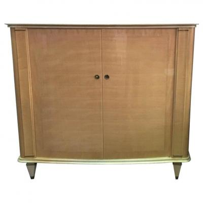Armoire Epoque Art Deco In Sycamore, Lacquered Wood And Brass Circa 1940
