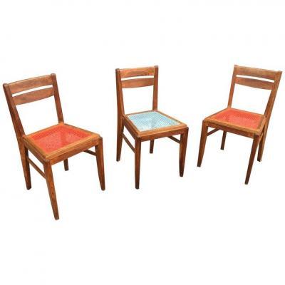 3 Chaises En Chêne Dans Le Style De René Gabriel, Circa 1950