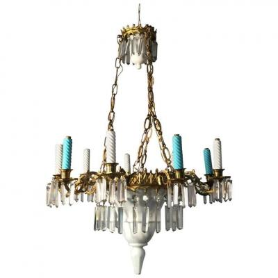 Chandelier 1900, Ceramic, Crystal And Brass