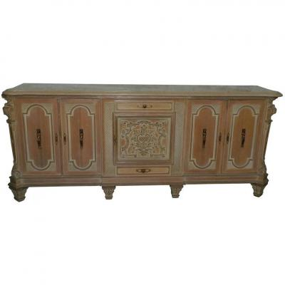 Large Sideboard Art Deco 1940 In Oak Bleached Marble And Bronze