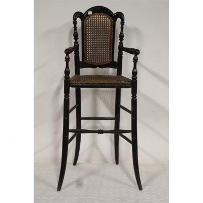 Chaise d'Enfant En Bois Noirci Circa 1900, Style Thonet