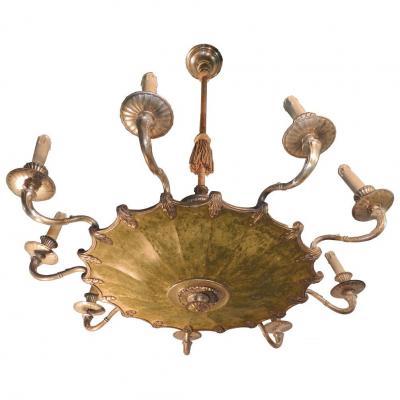 Travail Art Deco Suedois ? , Elegant Lustre En Bronze Argente Et Metal Laque Vers 1920/1930