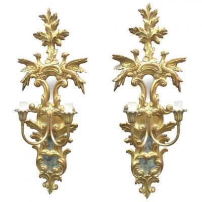 Paire De Grandes Appliques Baroques Style Italie XVIII , Bois Doré , Miroirs