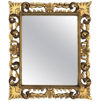 Neo Baroque Mirror In Golden Wood Circa 1950