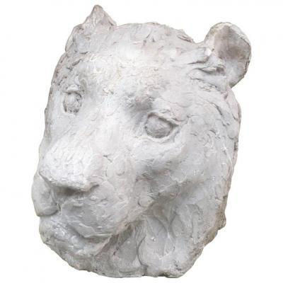 "Ernestine Sirine-real (1899-1994) ""lioness Head Plaster Art Deco Period"""
