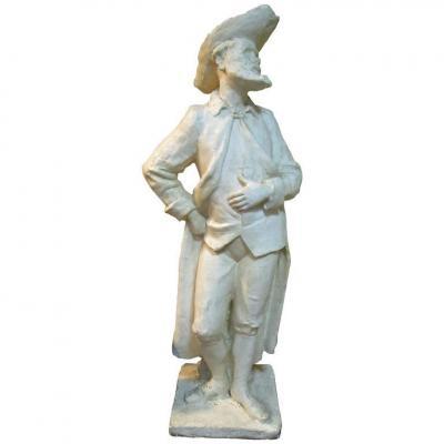 Importante Sculpture En Plâtre (200cm) Représentant Un Hidalgo, Signée Coste Et Datée 1964