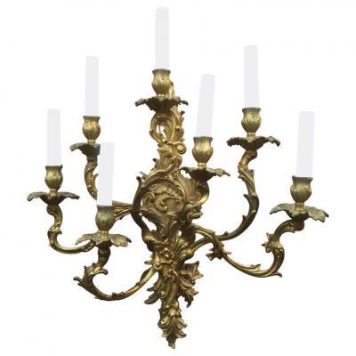Grande Applique En Bronze Style Louis XV à 7 Lumieres Circa 1950